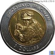 5 Dollars - Elizabeth II (3rd Portrait - Sir Donald Bradman Tribute - Bi-Metalic) -  reverse