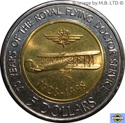 5 Dollars - Elizabeth II (4th Portrait - Royal Flying Doctor Service) -  reverse