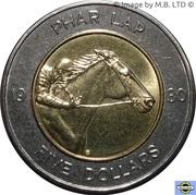 5 Dollars - Elizabeth II (4th Portrait - Phar Lap) -  reverse