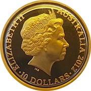 10 Dollars - Elizabeth II (4th Portrait - Year of the Dragon - Gold Proof) -  obverse