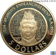 5 Dollars - Elizabeth II (3rd Portrait - The Enfranchisement of Women - Proof) -  reverse