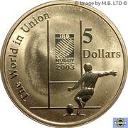 5 Dollars - Elizabeth II (4th Portrait - Rugby World Cup) -  reverse