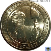 5 Dollars - Elizabeth II (4th Portrait - 100th Anniversary of Birth of Sir Donald Bradman) -  reverse