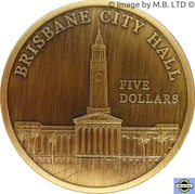 "5 Dollars - Elizabeth II (4th Portrait - ""Town Halls"" Brisbane City Hall) – reverse"