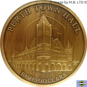 "5 Dollars - Elizabeth II (4th Portrait - ""Town Halls"" Perth Town Hall) – reverse"