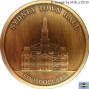 "5 Dollars - Elizabeth II (4th Portrait - ""Town Halls"" Sydney Town Hall) -  reverse"
