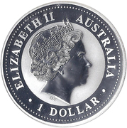 1 Dollar - Elizabeth II (4th Portrait - Year of the Dragon - Silver Bullion Coin) -  obverse