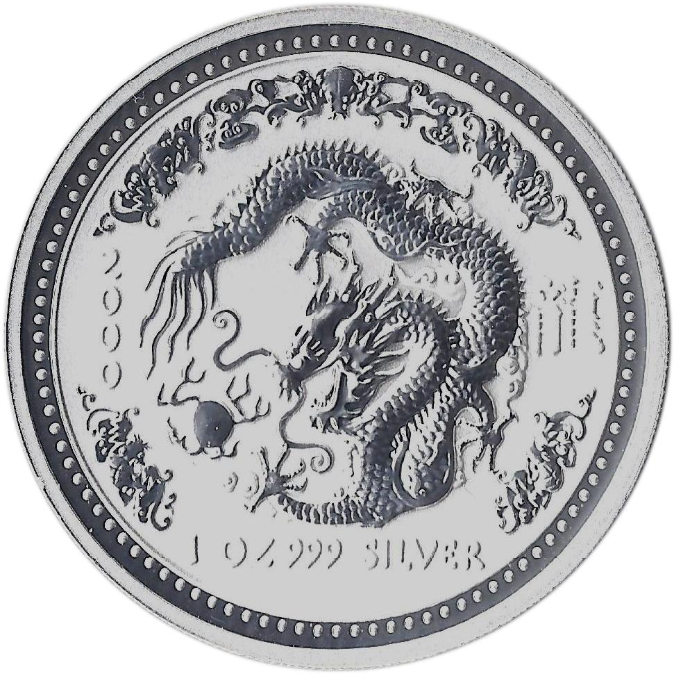 1//2 Oz .999 Fine Silver Coin Year of the Dragon 2000 Proof Super Rare World Coin