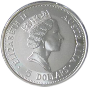 5 Dollars - Elizabeth II (3rd Portrait - Australian Kookaburra) -  obverse