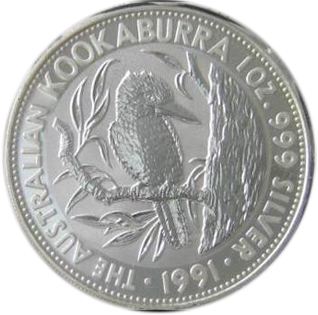 Coins: World Coins & Paper Money Australia 1 Oz 999 Silver 5 Dollars 1991 Proof