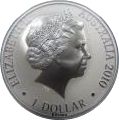 "1 Dollar - Elizabeth II (4th portrait; ""Kangaroo"" Silver Bullion Coinage) -  obverse"