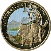 1 Dollar - Elizabeth II (Tasmania) -  reverse