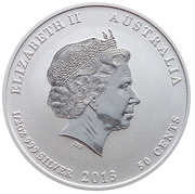 50 Cents - Elizabeth II (4th Portrait - Year of the Snake - Silver Bullion Coin) – obverse