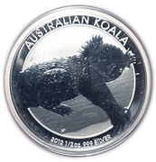 50 Cents - Elizabeth II (4th Portrait - Koala - Silver Bullion Coin) -  reverse