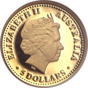 5 Dollars - Elizabeth II (4th Portrait - Dolphin - Gold Proof) -  obverse
