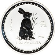 1 Dollar - Elizabeth II (4th Portrait - Year of the Rabbit - Silver Bullion Coin) -  reverse