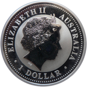 1 Dollar - Elizabeth II (4th Portrait - Australian Kookaburra - Silver Bullion Coin) -  obverse