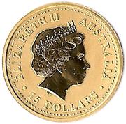 15 Dollars - Elizabeth II (4th Portrait - Year of the Dragon - Gold Bullion Coin) -  obverse