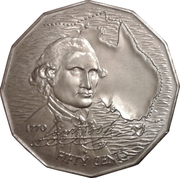 50 Cents - Elizabeth II (2nd Portrait - Captain Cook) -  reverse