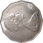 50 Cents - Elizabeth II (Brisbane Commonwealth Games) – obverse