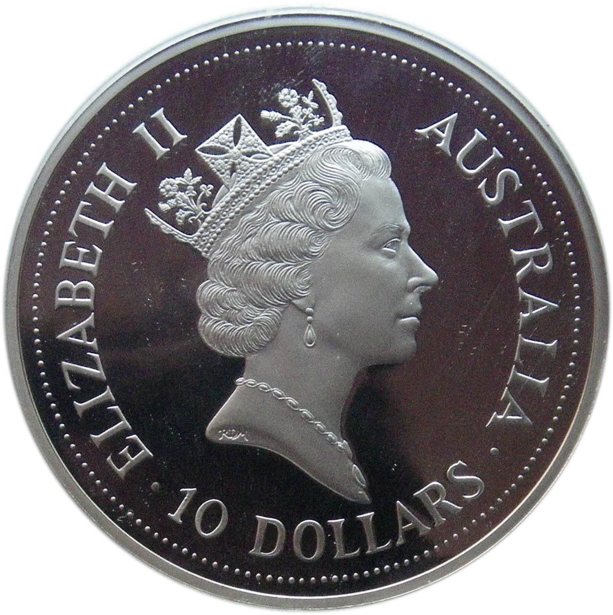 999 Silver 2 Dollar Coin Australia Elizabeth II 1992 Australian Kookaburra 2 Oz