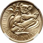 200 Dollars - Elizabeth II (2nd Portrait - Koala - Gold Bullion Coin) -  reverse