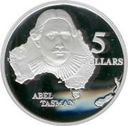 5 Dollars - Elizabeth II (3rd Portrait - Abel Tasman - Masterpieces in Silver) -  reverse
