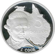 5 Dollars - Elizabeth II (3rd Portrait - James Cook - Masterpieces in Silver) -  reverse