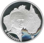 5 Dollars - Elizabeth II (3rd Portrait - Matthew Flinders - Masterpieces in Silver) -  reverse