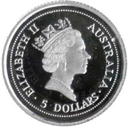 5 Dollars - Elizabeth II (3rd Portrait - Koala - Platinum) -  obverse