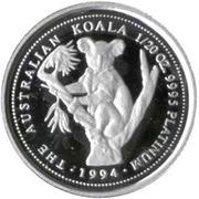 5 Dollars - Elizabeth II (3rd Portrait - Koala - Platinum) -  reverse