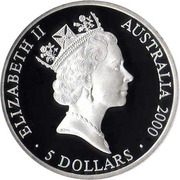 5 Dollars - Elizabeth II (4th Portrait - Sydney 2000 Series - Silver Proof) -  obverse