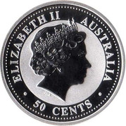 50 Cents - Elizabeth II (4th Portrait - Year of the Horse - Silver Bullion Coin) -  obverse