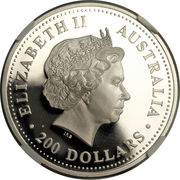 """200 Dollars - Elizabeth II (""""Koala"""" Platinum Bullion Coinage) -  obverse"""