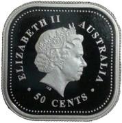 50 Cents - Elizabeth II (4th Portrait - Australian Square Kookaburra - Colourised) -  obverse