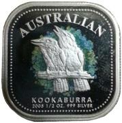 50 Cents - Elizabeth II (4th Portrait - Australian Square Kookaburra - Colourised) -  reverse