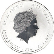 50 Cents - Elizabeth II (4th Portrait - Year of the Horse - Silver Bullion Coin) – obverse