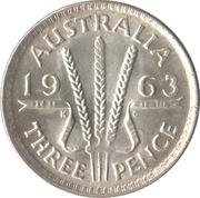 """3 Pence - Elizabeth II (1st Portrait; with """"F:D:"""") – reverse"""
