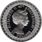25 Dollars - Elizabeth II (3rd Portrait - Princess Anne - Masterpieces in Silver) -  reverse