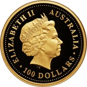 100 Dollars - Elizabeth II (4th Portrait - Australian Nugget - Gold Bullion Coin) – obverse