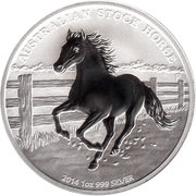 1 Dollar - Elizabeth II (4th Portrait - The Australian Stock Horse - Silver Bullion Coin) -  reverse