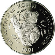 500 Dollars - Elizabeth II (3rd Portrait - Koala - Platinum) -  reverse