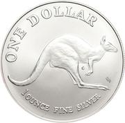 "1 Dollar - Elizabeth II (""Kangaroo"" Silver Bullion Coinage; Coin Master) -  reverse"
