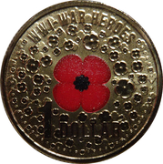 1 Dollar - Elizabeth II (4th Portrait - WW1 War Heroes Red Poppy) -  reverse