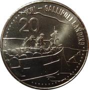 20 Cents - Elizabeth II (Gallipoli Landing) -  reverse