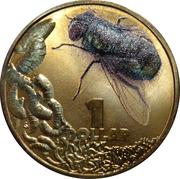 1 Dollar - Elizabeth II (4th Portrait - Bright Bug Series - Blowfly) -  reverse