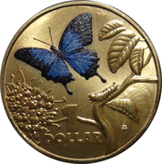 1 Dollar - Elizabeth II (4th Portrait - Bright Bug Series - Ulysses Butterfly) – reverse