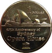 1 Dollar - Elizabeth II (4th Portrait - 40th Anniversary of the Sydney Opera House) -  reverse