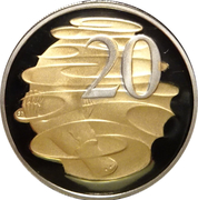20 Cents - Elizabeth II (Selectively gold plated) -  reverse