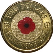 2 Dollars - Elizabeth II (Remembrance Day - Poppy Flower; Colourised) -  reverse